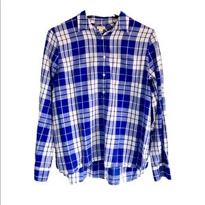 J. Crew Blue / White Plaid Shirt Size Large